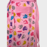 Pink Heart Printed Water Absorbent Cotton Bathrobe