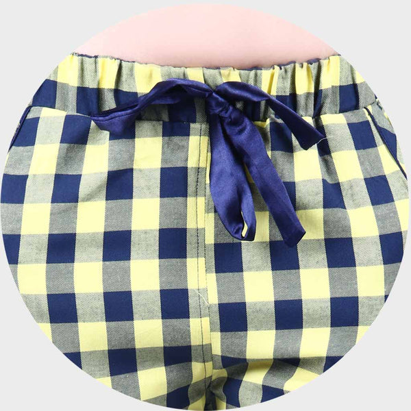 Navy Blue & Yellow Checkered Top & Pyjama Set