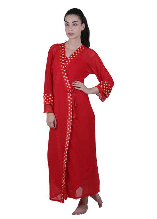 Red Printed Nightgown , Nightgowns - vixenwrap, Vixenwrap - 1