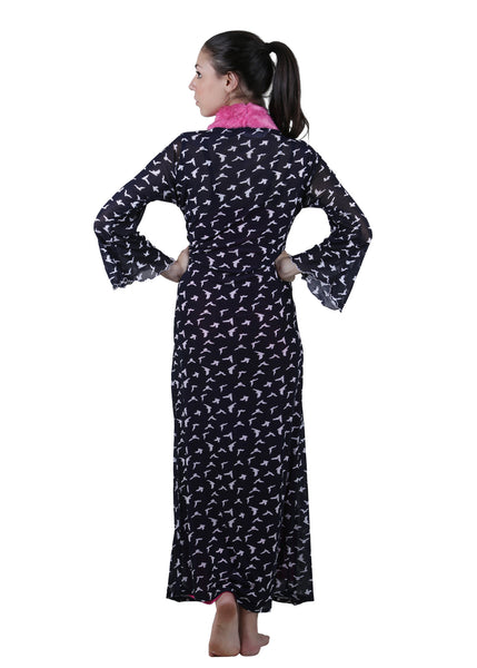 Black & Pink Printed Nightgown , Nightgowns - vixenwrap, Vixenwrap - 4