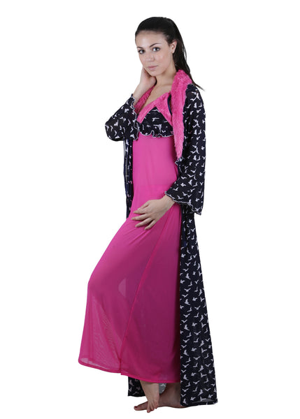 Black & Pink Printed Nightgown , Nightgowns - vixenwrap, Vixenwrap - 7