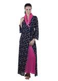 Black & Pink Printed Nightgown , Nightgowns - vixenwrap, Vixenwrap - 1