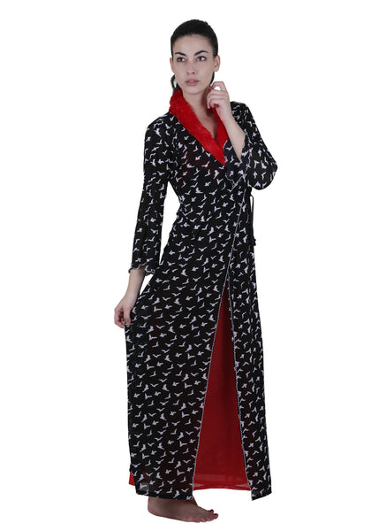 Black & Red Printed Nightgown , Nightgowns - vixenwrap, Vixenwrap - 2
