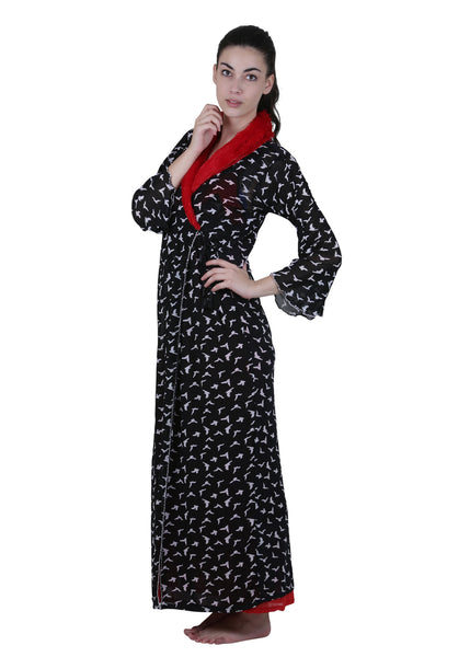 Black & Red Printed Nightgown , Nightgowns - vixenwrap, Vixenwrap - 1