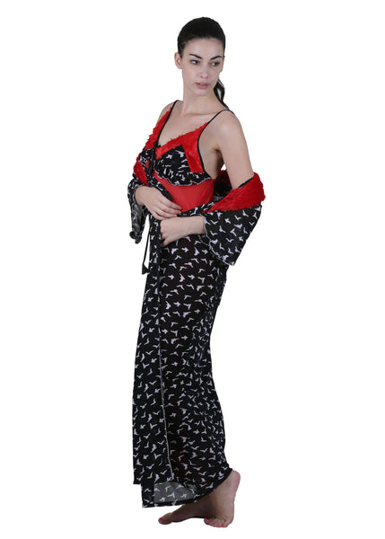 Black & Red Printed Nightgown , Nightgowns - vixenwrap, Vixenwrap - 5