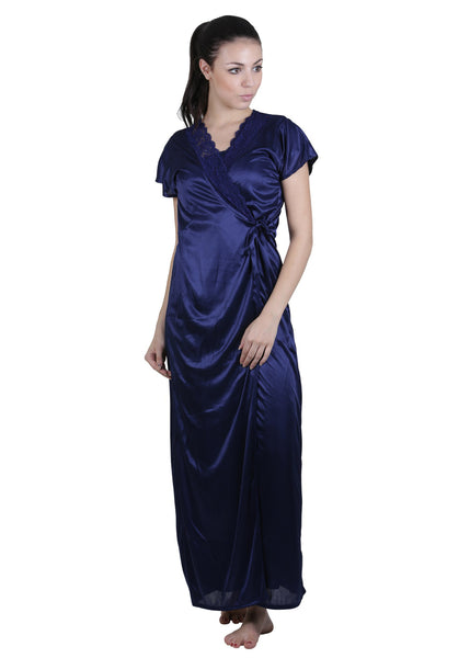 Blue Solid Nightgown , Nightgowns - vixenwrap, Vixenwrap - 1