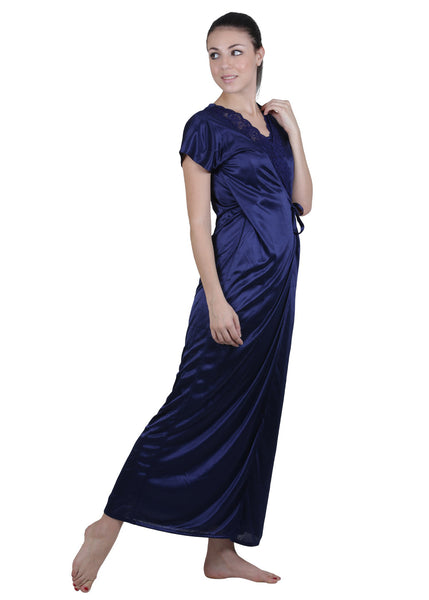 Blue Solid Nightgown , Nightgowns - vixenwrap, Vixenwrap - 2