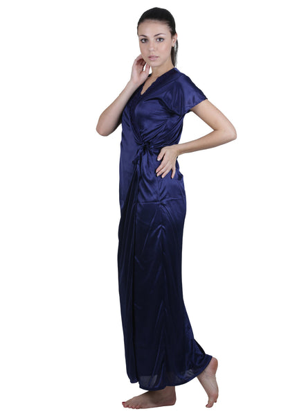 Blue Solid Nightgown , Nightgowns - vixenwrap, Vixenwrap - 3