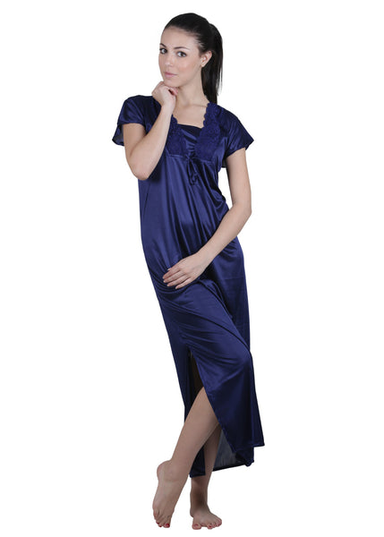 Blue Solid Nightgown , Nightgowns - vixenwrap, Vixenwrap - 5