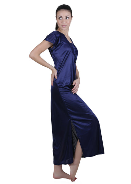 Blue Solid Nightgown , Nightgowns - vixenwrap, Vixenwrap - 6