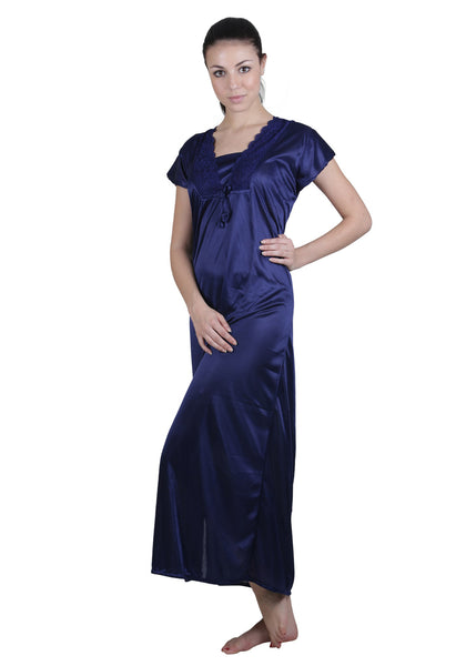 Blue Solid Nightgown , Nightgowns - vixenwrap, Vixenwrap - 7