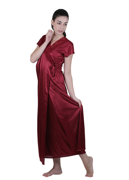 Red Solid Nightgown , Nightgowns - vixenwrap, Vixenwrap - 3