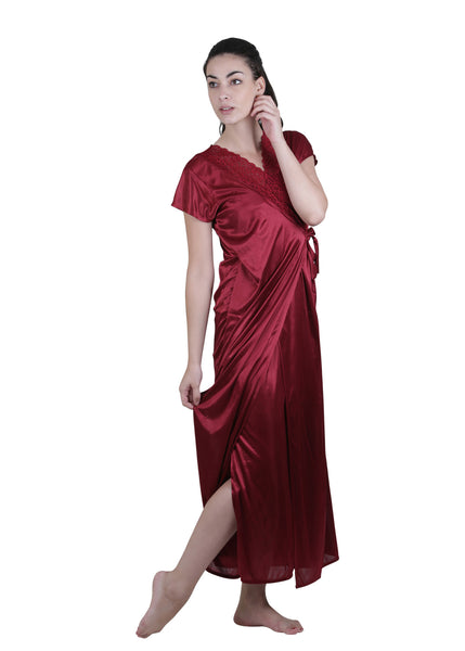 Red Solid Nightgown , Nightgowns - vixenwrap, Vixenwrap - 1