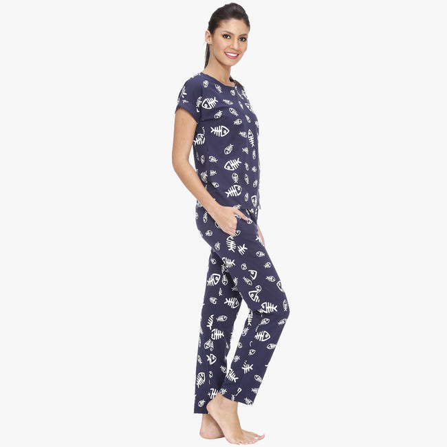 Vixenwrap Persian Blue Hosiery Printed Top & Pyjama Set