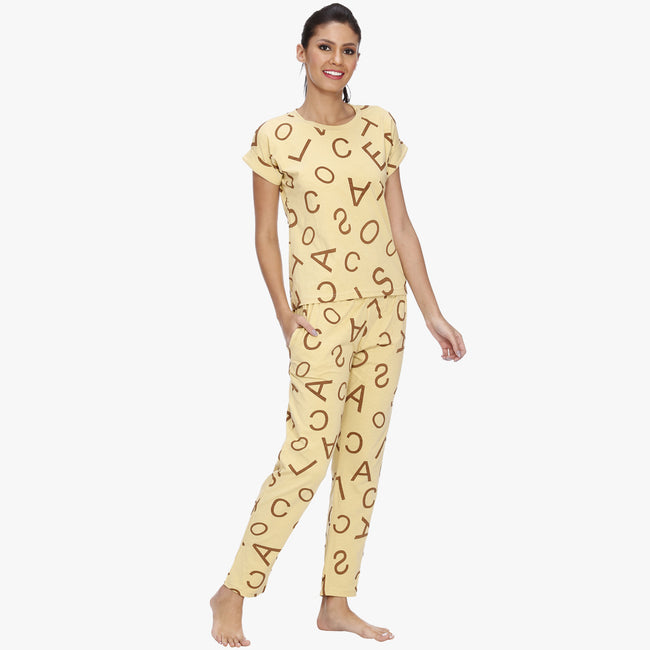 Vixenwrap Blonde Yellow Hosiery Printed Top & Pyjama Set