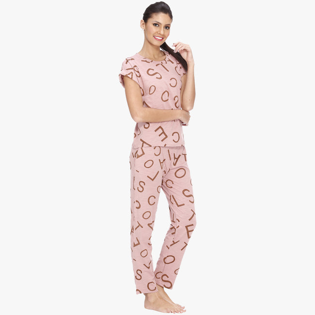 Vixenwrap Blush Pink Hosiery Printed Top & Pyjama Set