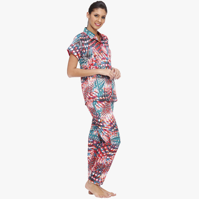 Multicolor Satin Nightsuit