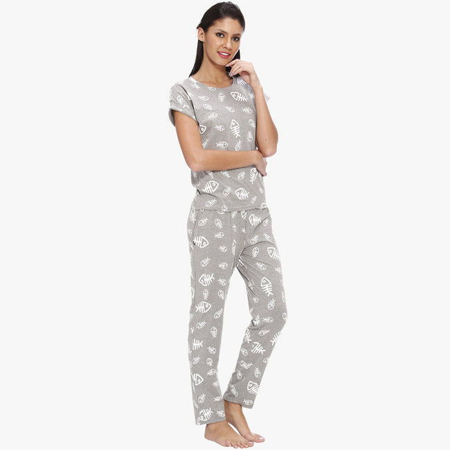 Vixenwrap Light Grey Hosiery Printed Top & Pyjama Set