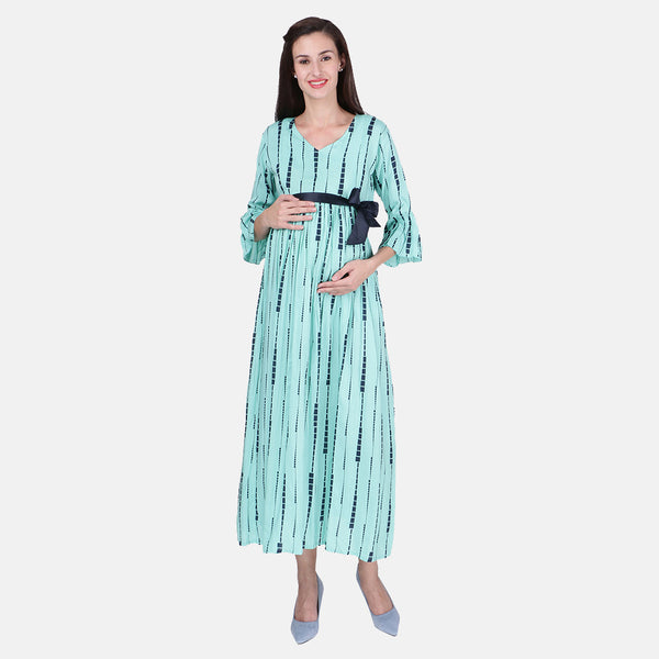 e8c479a17a3 Vixenwrap Arctic Blue Rayon Printed Maternity Dress