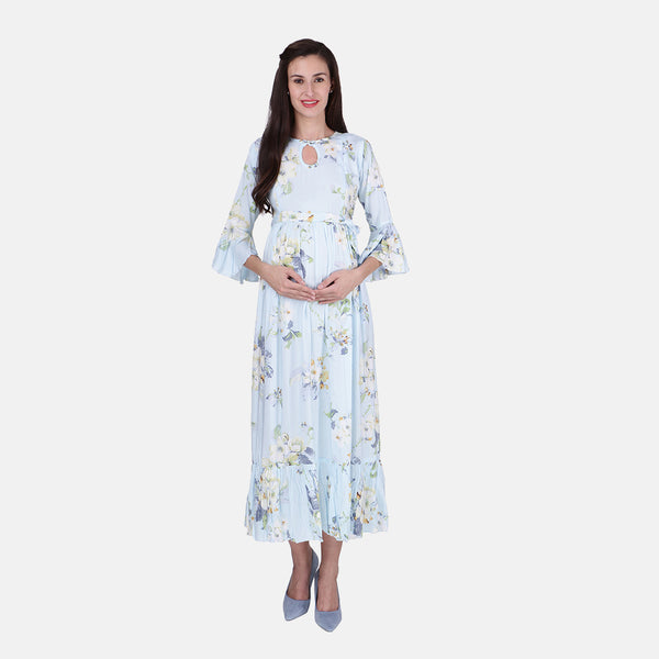 2251bf791c3cd Vixenwrap Cute Blue Rayon Floral Print Maternity Dress