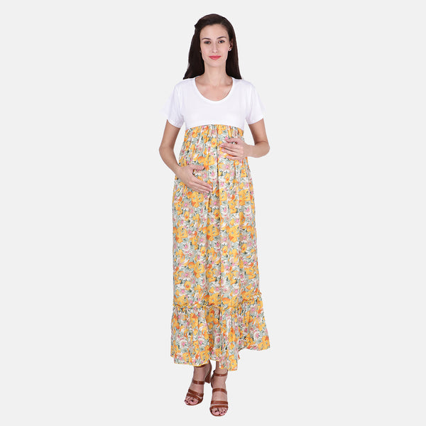 f6d32a4c0d Vixenwrap Yellow   White Polyester Floral Print Maternity Dress