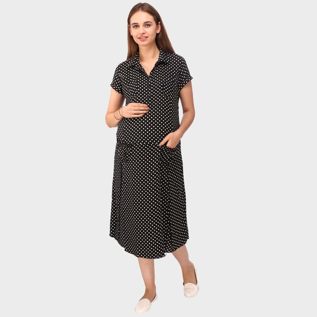 ce6ac07b83b91 Jet Black Polka Print Maternity Dress – Vixenwrap