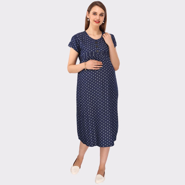 c9c41c70eb0a2 Navy Blue Printed Maternity Dress – Vixenwrap