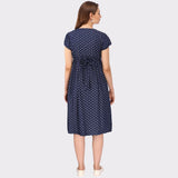 Navy Blue Printed Maternity Dress