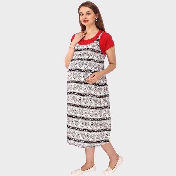 White & Red Printed Maternity Dress