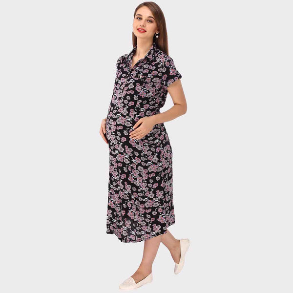 Black Floral Print Maternity Dress