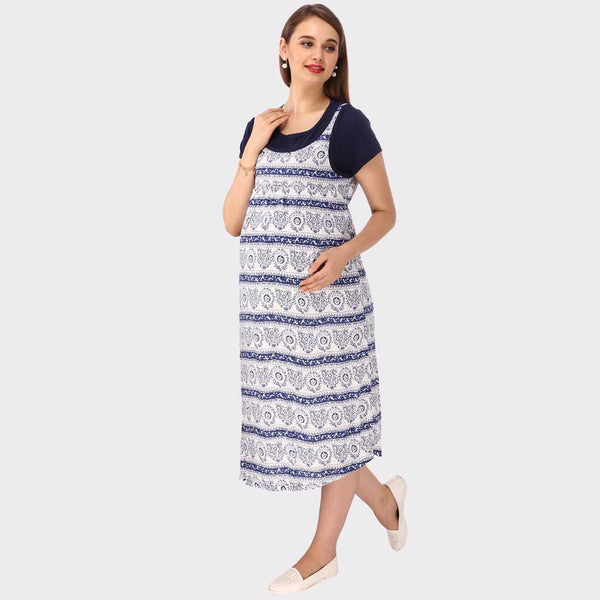 White & Blue Printed Maternity Dress
