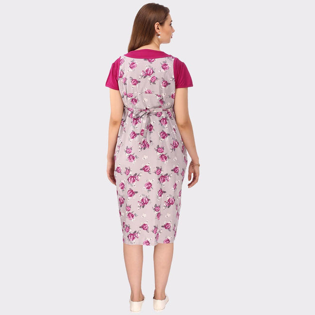 Pink & Grey Floral Print Maternity Dress