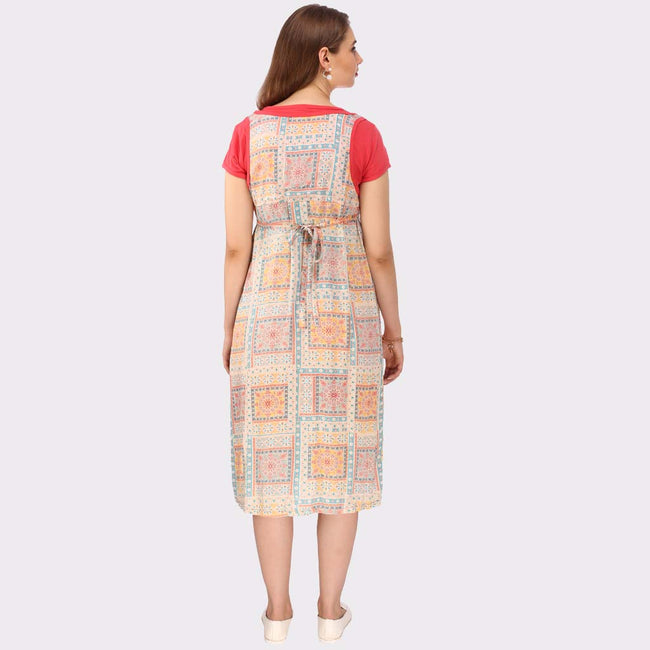 Multicolor Printed Maternity Dress