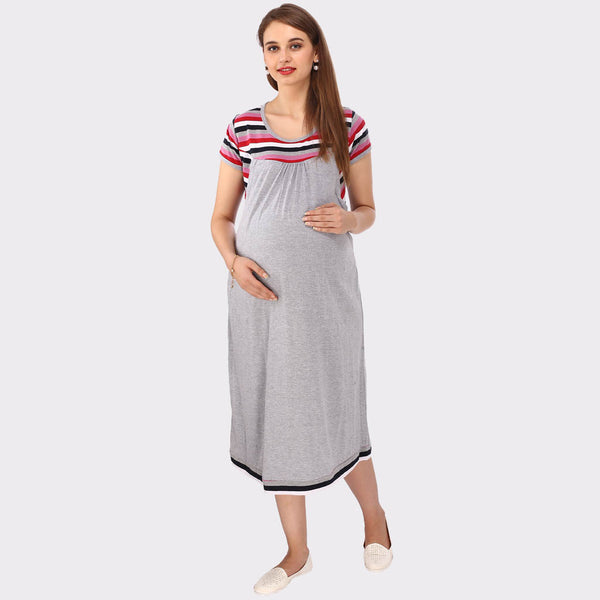 Cloud Grey Stripes Maternity Dress