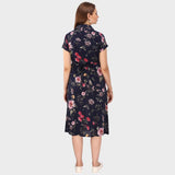Simple Black Floral Print Maternity Dress