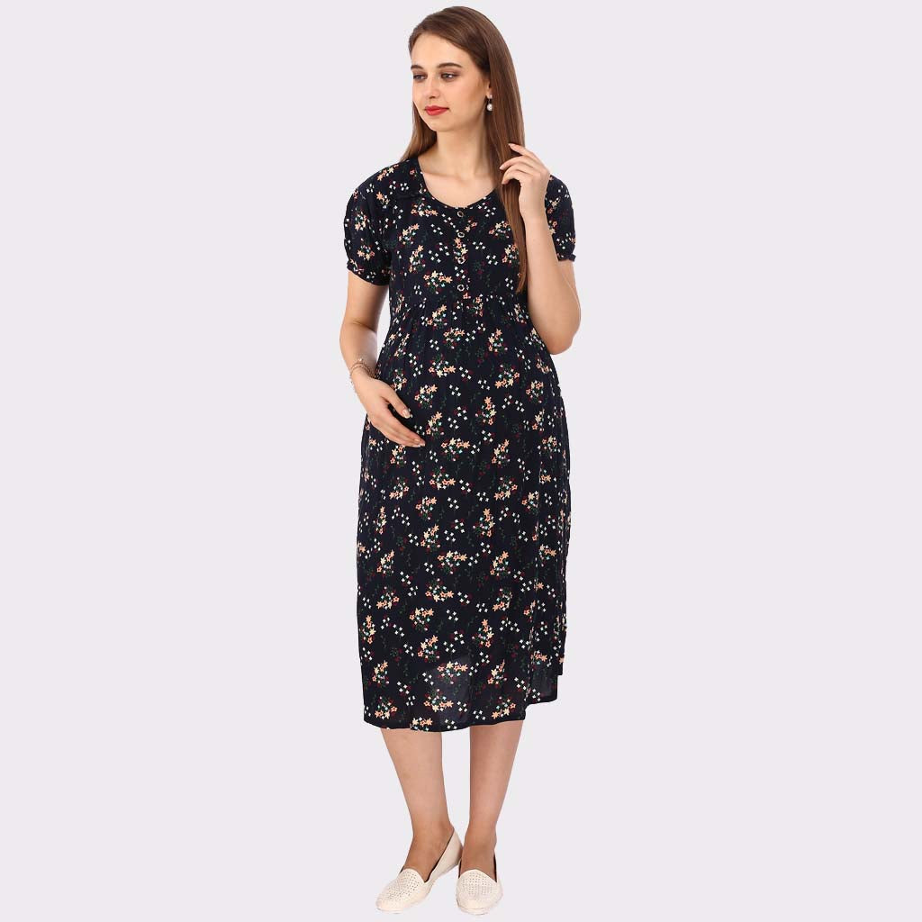 c1fc125c1492f Dark Blue Floral Print Maternity Dress – Vixenwrap