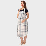 White & Black Checkered Maternity Dress