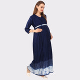 Navy Blue Solid Maternity Dress