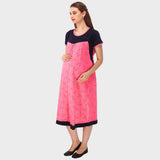 Fuscia Pink & Blue Printed Maternity Dress