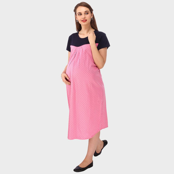 Sweet Pink Polka Print Maternity Dress