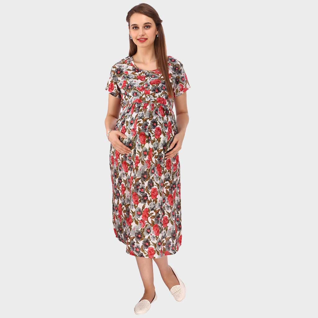 1e6ca91cfd836 Multi Red Floral Print Maternity Dress – Vixenwrap