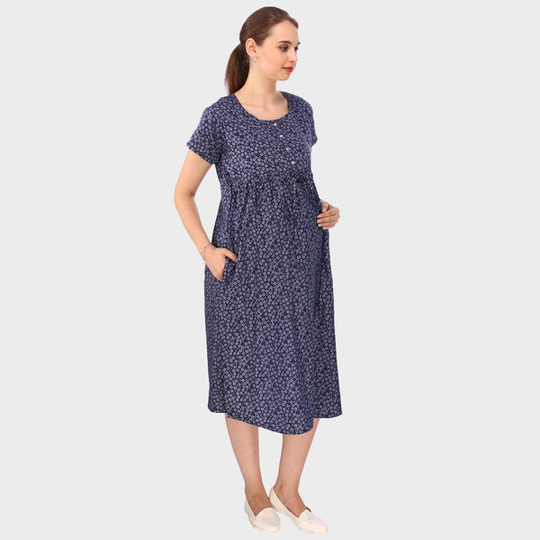 Multi Blue Printed Maternity Dress