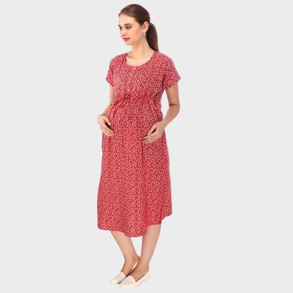 Crimson Red Printed Maternity Dress