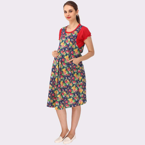 Multicolor Floral Print Maternity Dress