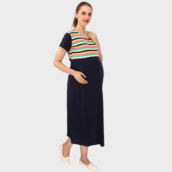 Dark Blue Stripes Maternity Dress