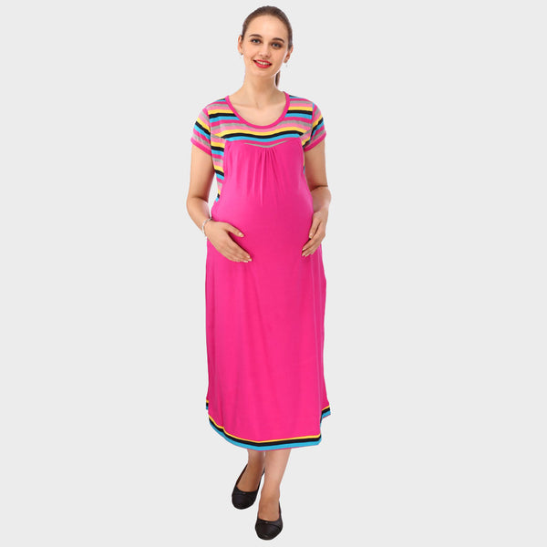 Hot Pink Stripes Maternity Dress