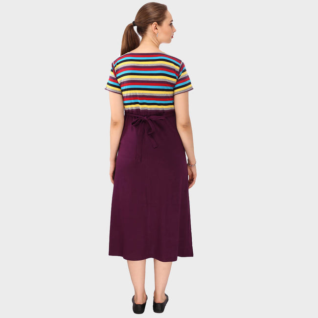 Sangria Color Stripes Maternity Dress