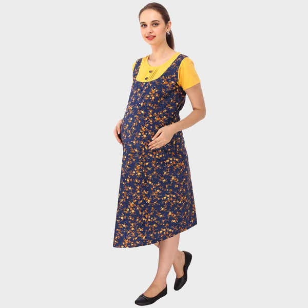 Blue & Yellow Floral Print Maternity Dress