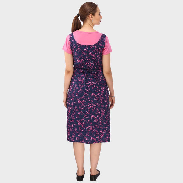 Blue & Cute Pink Floral Print Maternity Dress