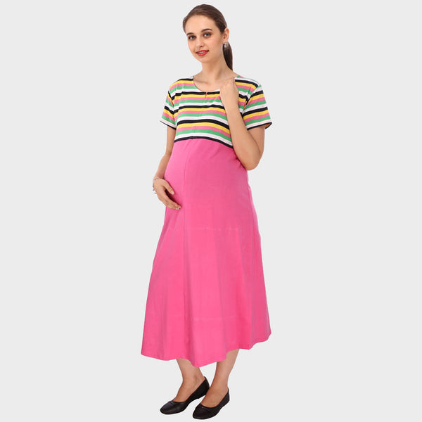 Ideal Pink Stripes Maternity Dress